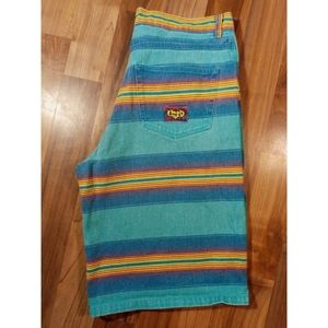 Vintage 1990s striped denim jean shorts retro